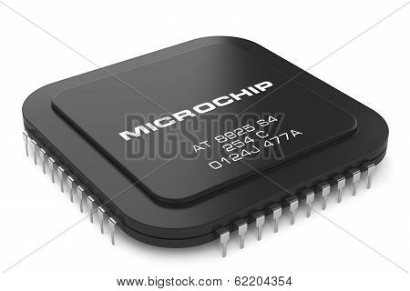 Black Microchip Isolated On White Background