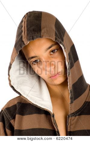 Portrait Of A Sad Angry Looking Pakistan Teenage Boy On White