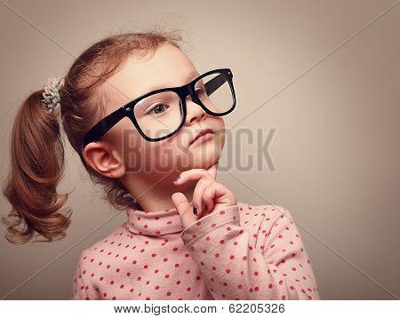 Thinking Cute Kid Girl Looking. Instagram Effect Portrait