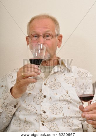 Senior Man Tasting Wines