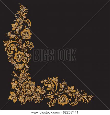 Vector background of floral pattern with traditional russian flower ornament.Khokhloma