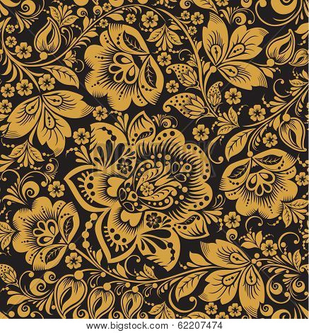 Seamless floral pattern. Beige flowers on a gold background.
