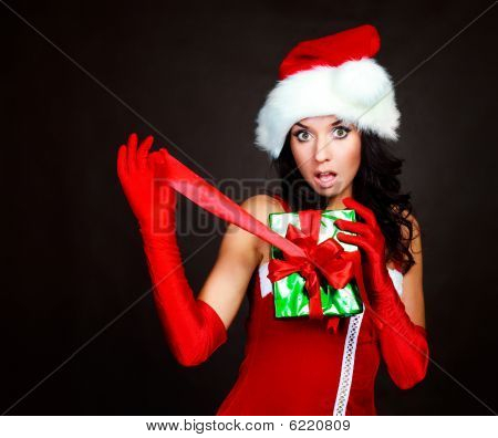Girl Opening A Present