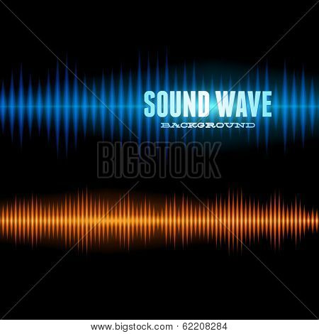 Blue and orange shiny sound waveform background