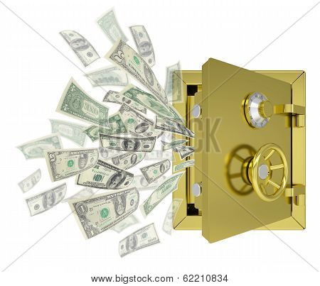 Dollars are emitted from an open safe