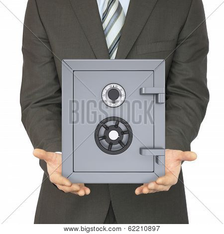 Man in a suit holding a safe