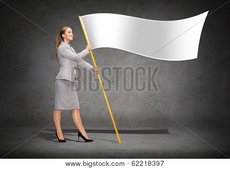 business and advertisement concept - smiling woman holding flagpole with white flag