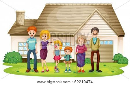 Illustration of a family outside their big house on a white background