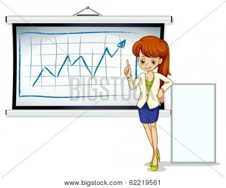 Illustration of a businesswoman with a bulletin board and an empty signboard on a white background