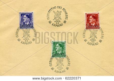 GERMANY - APRIL 20, 1943: 3 German stamps for celebration of Adolf Hitler birthday - sheet - show portrait of Adolf Hitler, canceled in Krakow during nazi occupation