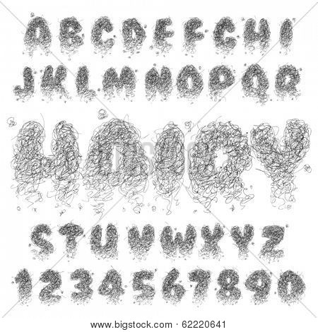 Vector Hairy Alphabet Set