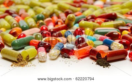 various pills as background
