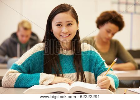 Female High School Student Studying At Desk In Classroom
