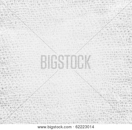 White and light gray texture of gauze background with sparse threads and clear space for your own text