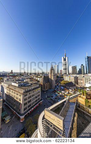 View To Skyline In Frankfurt With Skyscraper