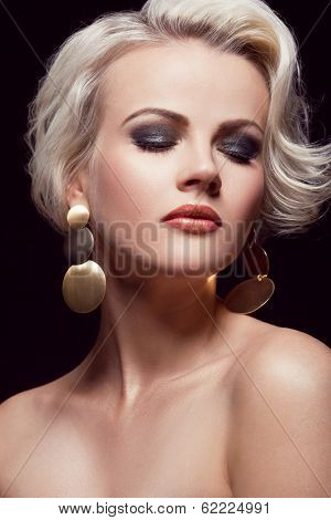 close up portrait of gorgeous blonde in the studio