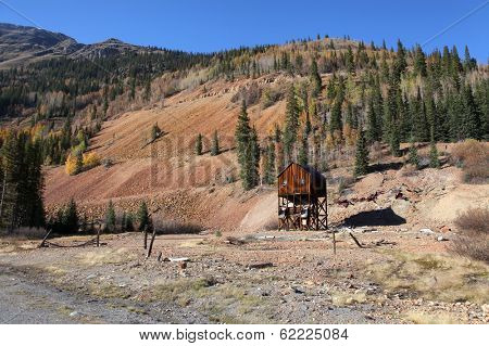 Old abandoned mining shaft in Colorado on Million dollar highway