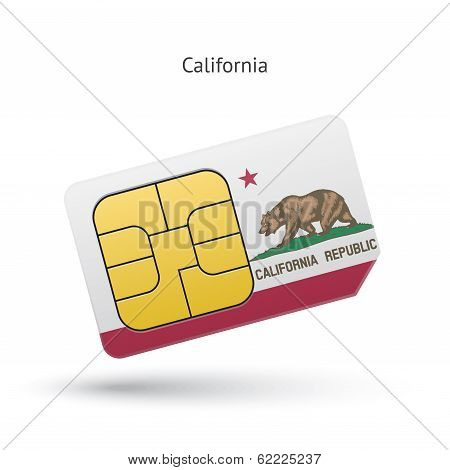 State of California phone sim card with flag.