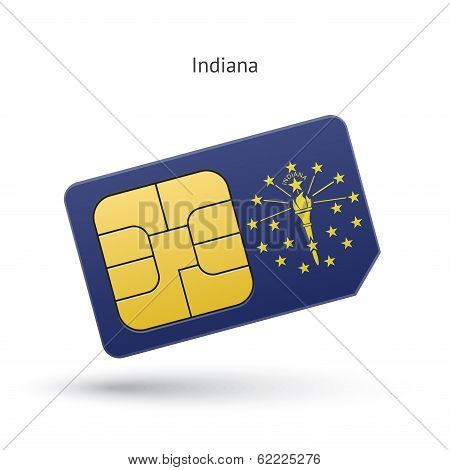 State of Indiana phone sim card with flag.