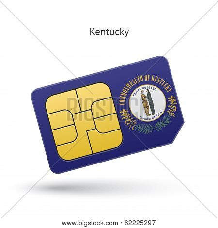 State of Kentucky phone sim card with flag.