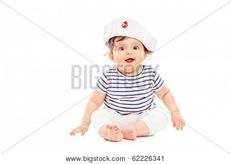 Cute baby girl with sailor hat isolated on white background