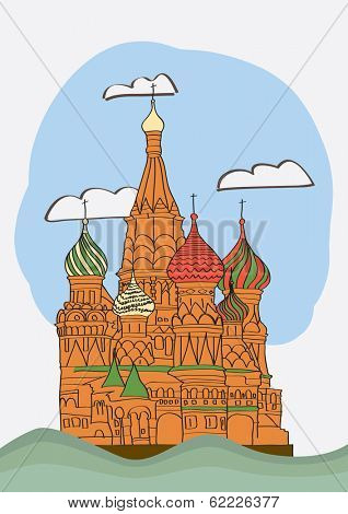 St. Basil's Cathedral on Red square. vector illustration