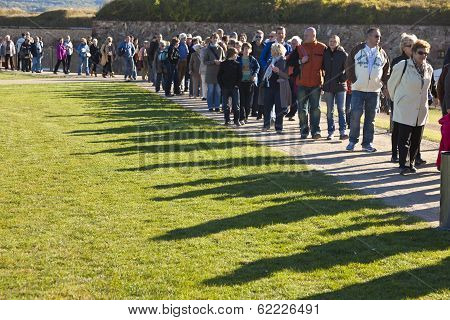 Unidentified People Queuing Up For The Buga Flower Show