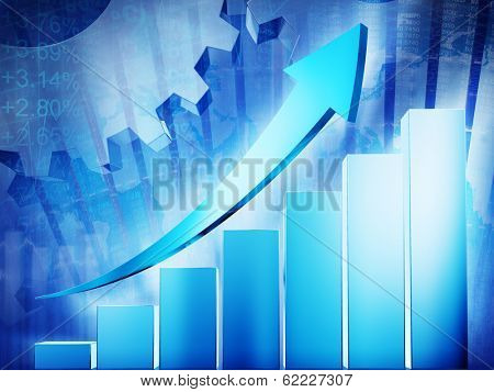Growth chart with arrow sign.