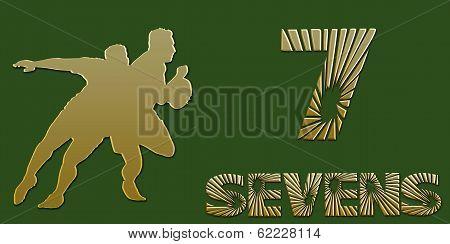 Golden Sevens Rugby Banner On Green