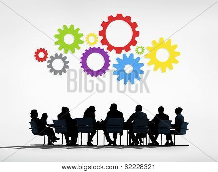 Strategic Management with Meeting Table and Gears