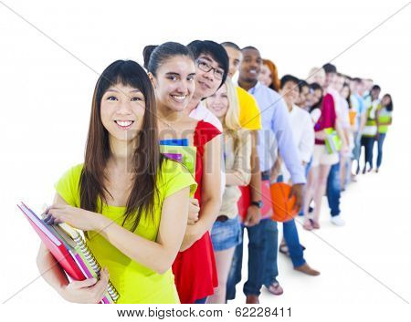 Multi-ethnic Group of Students Standing in a Line