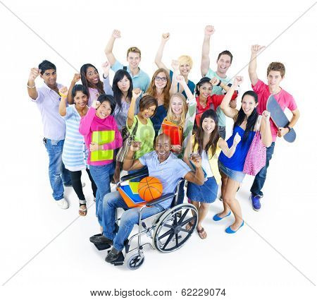 Group of Students and Disabled Person in Wheelchair Celebrating