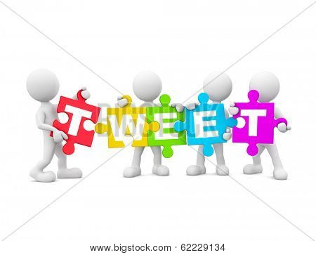 3D Men Holding Jigsaw Puzzle with TWEET