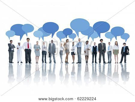 Group of Business People Talking with Speech Bubbles