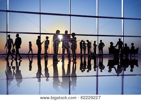 Large Group of Business People Meeting at Sunrise