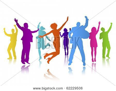 Vector of Colorful Business People Celebrating