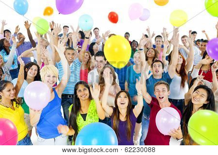 Young Diverse World People Celebrating with Colorful Balloons