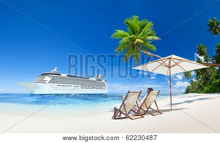 Couple Relaxing in Beach Chair at Beach with 3D Cruise Ship
