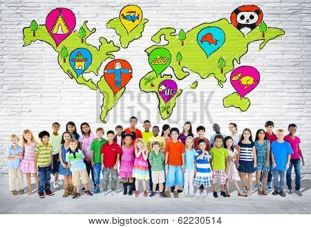 Group of Young Diverse Children with World Map