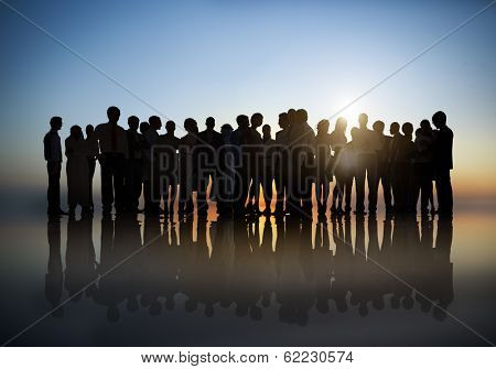 Silhouette of Large Group of Business People at Sunset