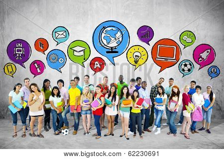 Group of Young Students with Speech Bubbles