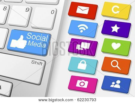 Vector of Keyboard and Social Media Icons