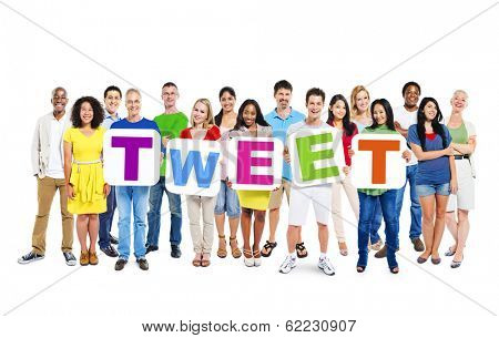 Multi-ethnic Group of People Holding Boards with Tweet