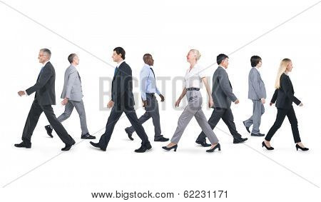 Mullti-ethnic Group of Business People Walking