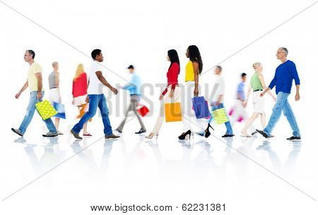 Mullti-ethnic Group of People Walking and Holding Shopping Bags