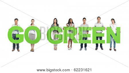 Environmentalist Diverse People Holding Go Green