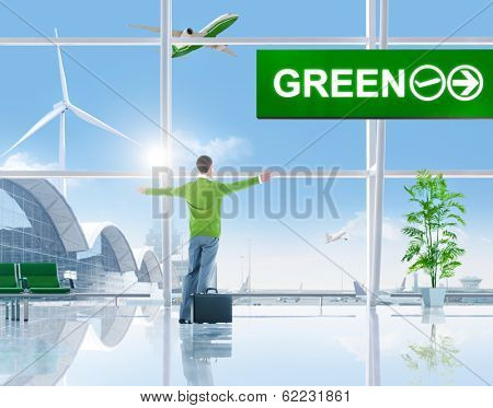 Happy Environmentalist Business Man in Airport with 3D Airplane