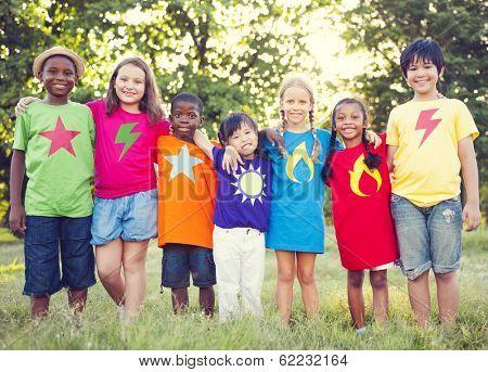 Diverse Superhero Children in The Park