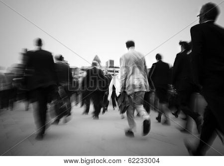 Crowd of Businessmen on Their Way to Work, London