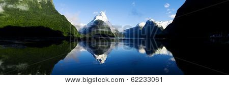 Panorama of Milford Sound, Fiordland, New Zealand